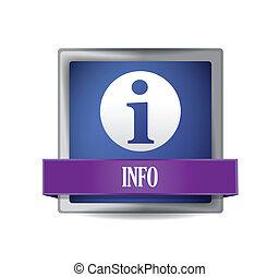 info, blåttar kvadrerar, knapp, reflekterat, glatt, ikon