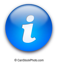 Glossy round info button isolated over white background