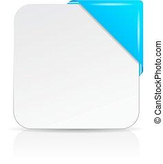 info, canto, cartão, em branco