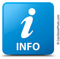 Info cyan blue square button