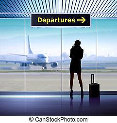 info, flygplats, signage