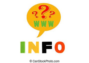 info, geschreven, in, veelkleurig, plastic, geitjes, brieven