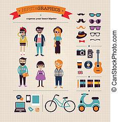 info, gráfico, ícones, conceito, hipster, fundo