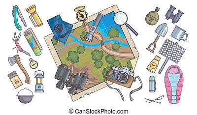 info, gráficos, montanha, equipamento hiking, ícones