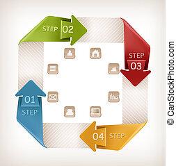 info, grafiek, spandoek, met, icons., retro, ontwerp,...