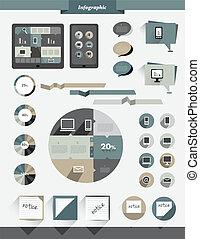 info, grafik, collection., lägenhet