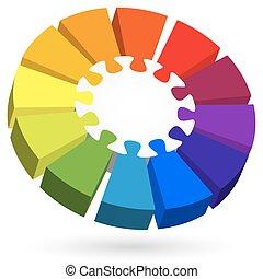 info, grafik, zentrieren, puzzel, teil, 3d