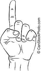 info, grafisch, poster, wijzende, vrijstaand, illustratie, hand, finger., achtergrond., vector, web, meldingsbord