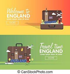 info, grafisk, england, sätta, resa, england., elementara, resande, ikon, london, bestämmelseorter