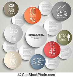 info, grafisk, färgad, affär, abstrakt, mall, runda