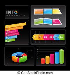 info-graphic, στοιχεία , επάνω , μαύρο , φόντο.