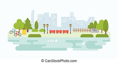 Info graphic and elements of public park in city with building background, flat design vector illustration