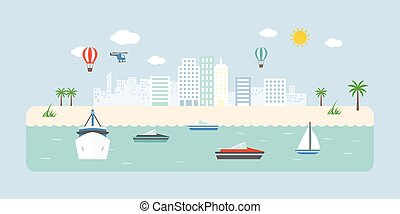 Info graphic and elements of town, transportation in sea, beach and coastal landscapes, flat design vector illustration