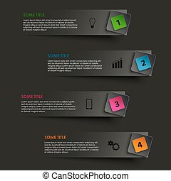 Info graphic striped with colored pointer on black ...