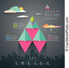 Info graphic business triangle rockets plan template design, vector illustrations