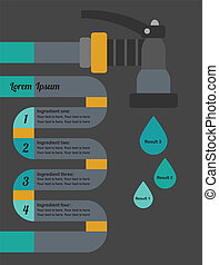 Info graphic water hose and drops