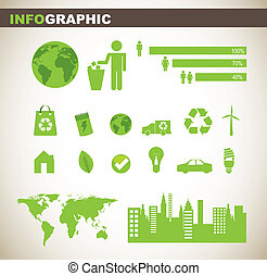info graphic with people sign and green elements. vector...