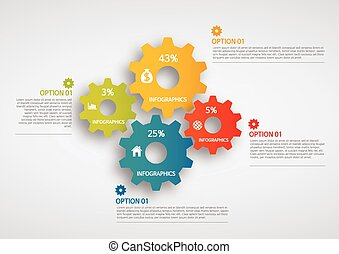 info graphics - colorful gear - info graphics - colorful...