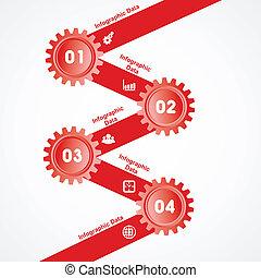info-graphics, engrenages, créatif, bannière