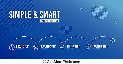 info, herstelling, werktuig, shoppen , iconen, set., verkoop, offer., schroevendraaier, vector, thermometer, mand, hamer, teken., informatie