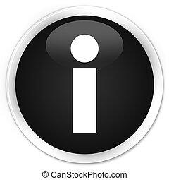 Info icon black glossy round button