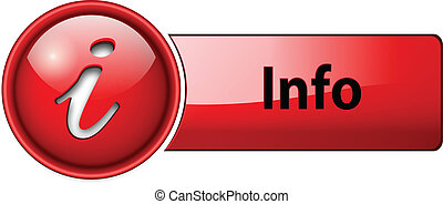info icon, button - information, info icon button, red ...
