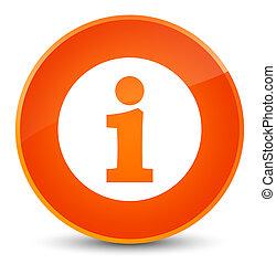 Info icon elegant orange round button