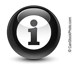 Info icon glassy black round button