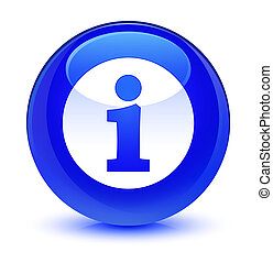 Info icon glassy blue round button