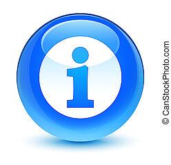 Info icon glassy cyan blue round button