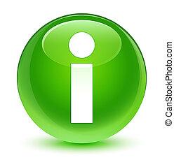 Info icon glassy green round button