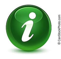 Info icon glassy soft green round button