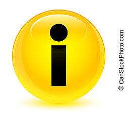 Info icon glassy yellow round button