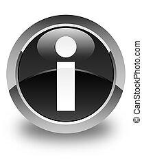 Info icon glossy black round button