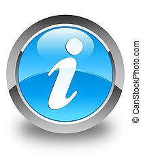 Info icon glossy cyan blue round button