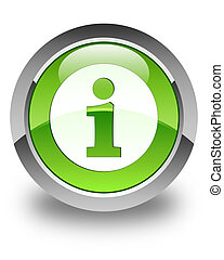 Info icon glossy green round button 3
