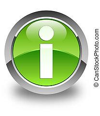 Info icon glossy green round button