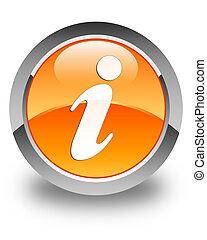 Info icon glossy orange round button 2
