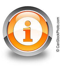 Info icon glossy orange round button 3