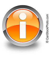 Info icon glossy orange round button
