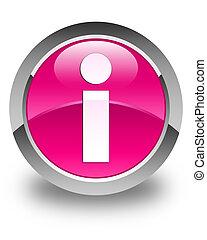 Info icon glossy pink round button