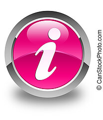 Info icon glossy pink round button