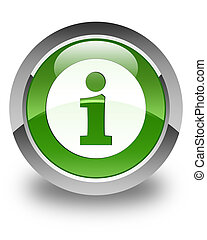 Info icon glossy soft green round button