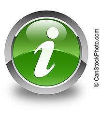 Info icon glossy soft green round button