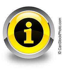Info icon glossy yellow round button