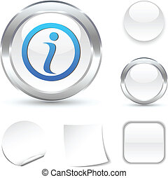 Info  icon. - Info white icon. Vector illustration.