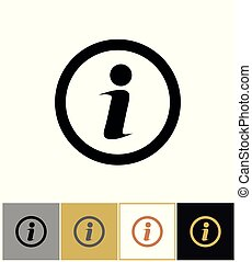Info icon, information round symbol on gold and white background