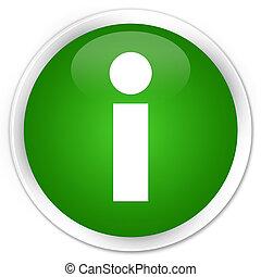 Info icon premium green round button