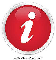Info icon premium red round button