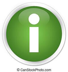 Info icon premium soft green round button